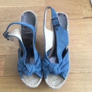 Jimmy Choo Denim and Cork Wedge Heels